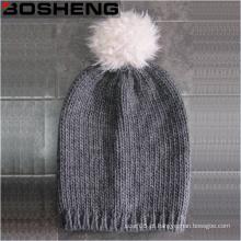 Inverno quente chapéu de malha cinza bonito com POM branco