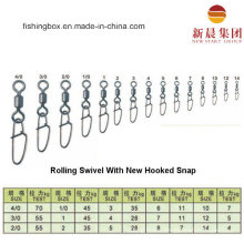 Brass Material Rolling Swivel with New Hooked Snap Fishing Swivel