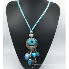 Collar de aleación de imitación de terciopelo azul (XJW13770)
