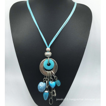 Blue Velvet Imitation Stone Alloy Necklace (XJW13770)