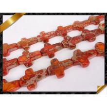 Natural Orange Sea Sediment Jasper Cross Pendant Perles pierres fines (GB0108)