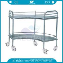 AG-SS007 Krankenhaus fächerförmige Operationsgerät Tabelle Edelstahl Wagen mit Rädern
