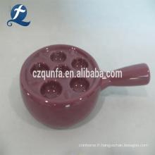 Support d'oeufs de grès de plaque d'oeufs de céramique de conception de poignée avec la poignée