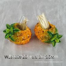 Unique design ceramic toothpick holder in pineapple shape