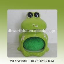 Porte-éponge en céramique à grenouille verte décorative