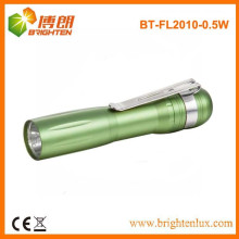 Factory Bulk Sale Promotional Aluminum Bright Pocket Size 1AA Dry Battery Powered Small 1w led mini Torch with Clip