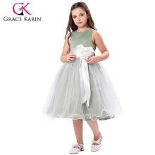 Grace Karin Sleeveless Satin Tulle Netting Princess Dress Wedding Pageant Party Dress Flower Girl Dress 2~12 Years CL008983-3