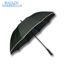 Free Artwork High Quality 30 Inch Straight Auto Open Full Fiberglass Windproof Safety Reflective Golf Umbrella with Custom Logo