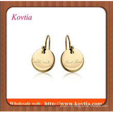 Gold jewellery online thin initial letter flat gold disc charm earring