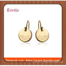 Золотые ювелирные изделия онлайн тонкая начальная буква плоский золотой диск шарм серьги