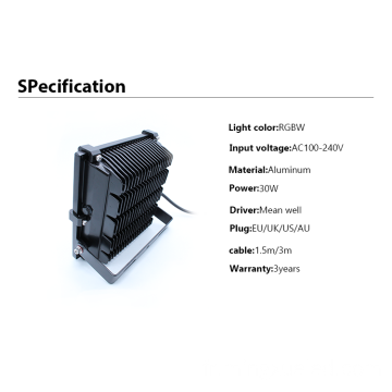 30W Outdoor Waterproof RGBW LED Inondation