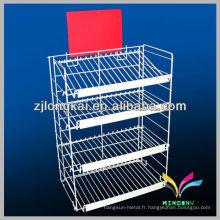 Carte postale blanche à 4 niveaux Carte postale CD DVD Retail Wire Rack