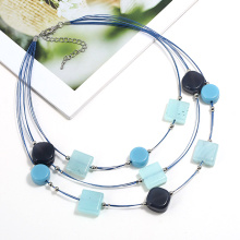 3 layers charm necklace with acrylic resin beads for women multi layered necklace