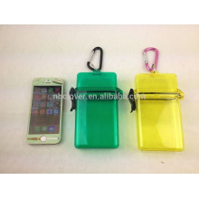 plastic transparent iphone 5S hold beach safe box with carabiner
