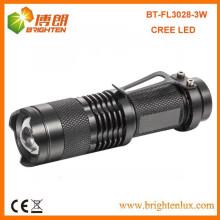 Hot Sale Bright 1AA ou 14500 Portable Aluminium Zoom Focus Pocket 7w 300lm mini cree ledlight Torche avec Clip