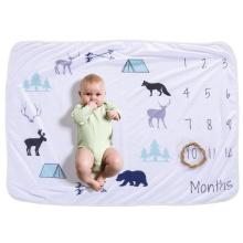 manta de tiro con estampado animal de franela cálida para bebé