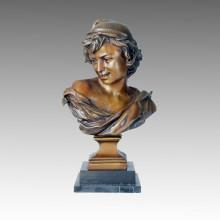 Бюст Бронзовая скульптура Леди Резьба Деку Статуя из латуни TPE-083