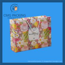 Sac de papier imprimé fleur pour cosmétique (CMG-MAY-045)