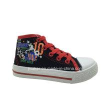 Zapato de lona ocasional superior lindo de los niños de la impresión (H325-S & B)