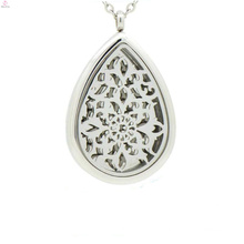 Magnetic stainless steel Water Drop pendant locket, solid perfume filigree cage locket pendants