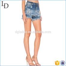 Pantalones cortos de mezclilla borla sexy de verano de talle alto para niñas