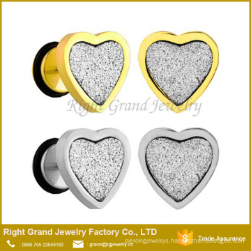 Surgical Steel Gold Silver Plated Sandpaper Heart Faux Fake Ear Plugs Gauges