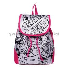 DIY Satin Student Graffiti Doodle Backpack for Promotion