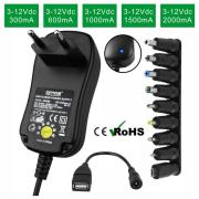12W 3V-12V Regulated Multi Voltage Power Adaptor