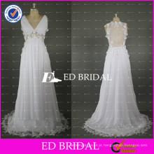 ED Bridal Custom Neck V Neck See Through Back Sheer Waist Empire Chiffon Summer Wedding Dresses 2017