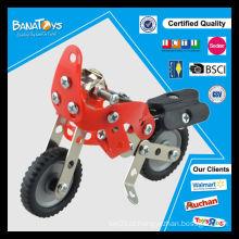 Moda brinquedos tijolos de metal montando venda de motocicleta de brinquedo