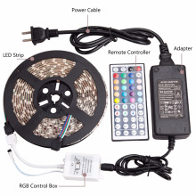 LED Strip Lights SMD 5050 IP65 16.4ft 5M 300leds RGB Color Changing Flexible LED Rope Lights with 44Key Remote
