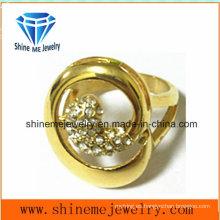 Oro de acero inoxidable con anillo de dedo de moda CZ (SCR2881)