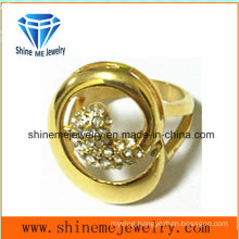 Stainless Steel Gold with CZ Fashion Finger Ring (SCR2881)