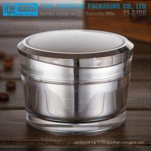 YJ-S100 100g vente chaude haute brillance luxe 1er grade g 100 matière acrylique double paroi jar