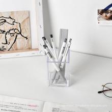Wholesale Support Custom Glossy Elegant Square Plastic Clear Acrylic Desk Pen Holder