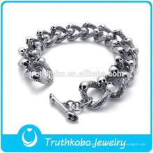 TKB-B0106 Cool Punk Men Bracelet Skull con Toggle Clasp 2015 Fashion Desgin