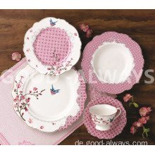 New Bone China Place Set Set Garten Vogel