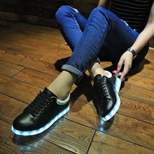 Cheap Glow Low Top LED Shoes Black White