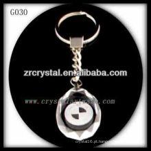 Chaveiro de cristal LED com imagem 3D gravado a laser dentro e em branco chaveiro de cristal G030