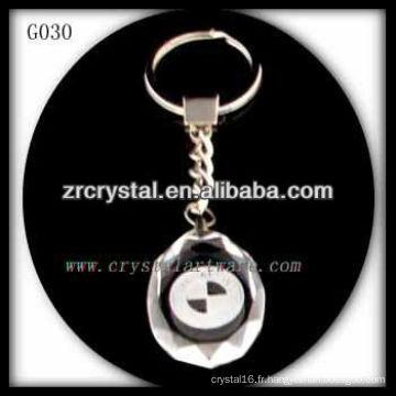 Keychain en cristal de LED avec l'image gravée par laser 3D à l'intérieur et le keychain en cristal blanc G030