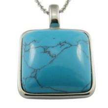 Quadratische große Türkis Stein Halskette