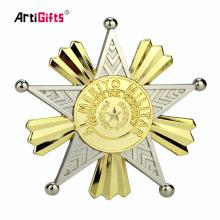 Gros personnalisé nouveau design métal plaqué double couleur militaire insigne de revers de sécurité