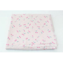nice quality cherry pattern printed with pink background square sweet scarf fringe on four side