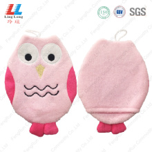 Pink owl foam gloves bath tools