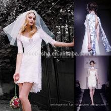 Sexy Short Front Long Back Wedding Dress 2014 Novo V-Neck Meia manga Backless Mini bainha vestido de noiva sem cachecol NB0762