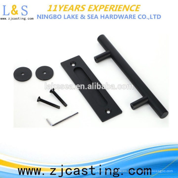 punho de aço carbono da porta de celeiro / punho de porta preto