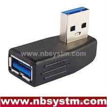 Ângulo esquerdo Adaptador USB 3.0 Um macho para uma fêmea