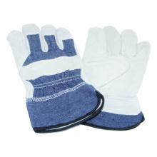 Cow Split Glove, Denim Cotton Work Glove, CE Safety Glove