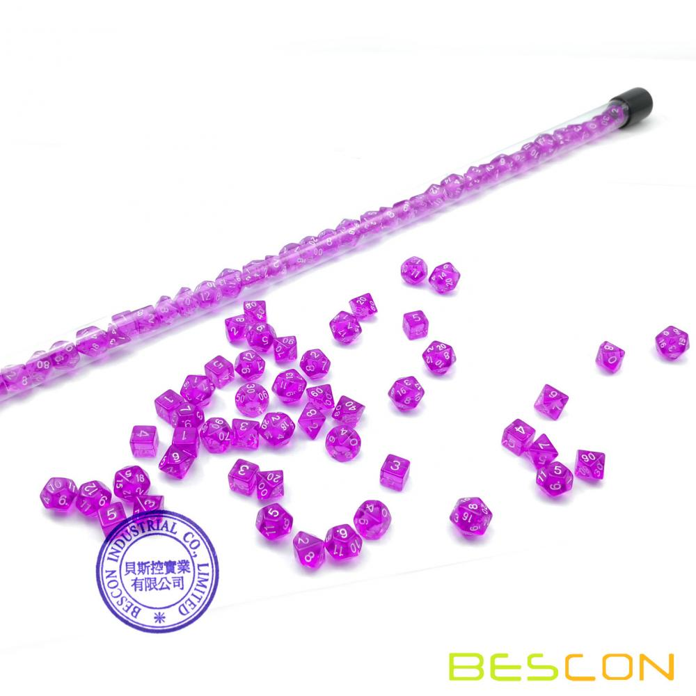 Bescon 49pcs Gem Purple Mini Polyhedral Dice Set in Long Tube, Gem Mini Dungeons and Dragons RPG Dice 7X7pcs, Long Stick Set