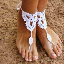 Bracelete de tornozelo mão Crochet Barefoot Sandálias Foot Jóias Beachwear Swimwear